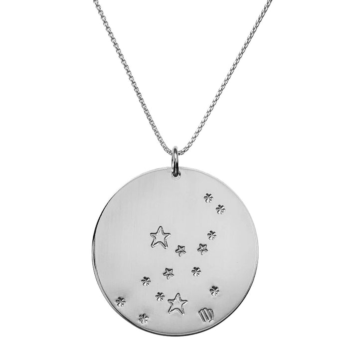 Constellation Zodiac Necklace Virgo - Silver - large disc - personalized - Blooming Lotus Jewelry