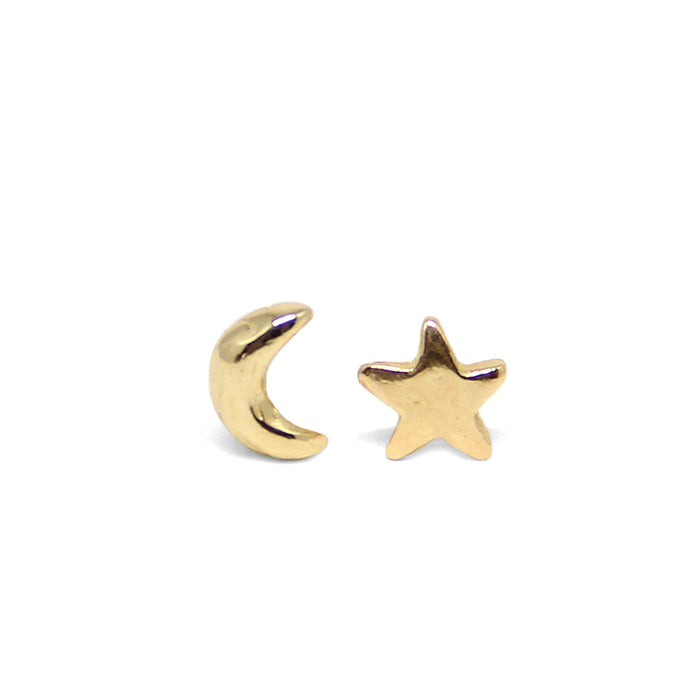 Luna Crescent Moon and Star Stud Earrings celestial gold Blooming Lotus Jewelry