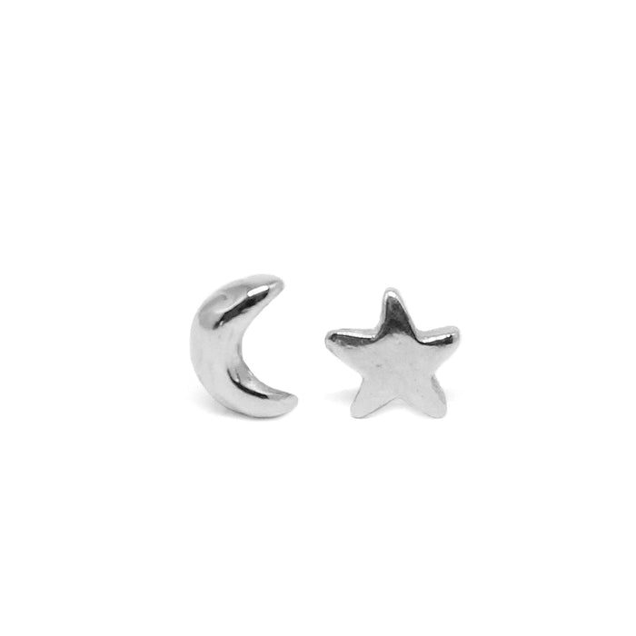 Luna Moon and Star Stud Earrings - silver - Blooming Lotus Jewelry