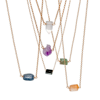 Raw Crystal Necklaces - gold chain - Blooming Lotus Jewelry