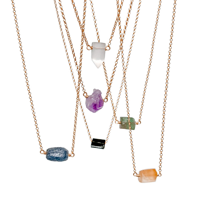 Raw Crystal Point Necklaces - gold - Blooming Lotus Jewelry