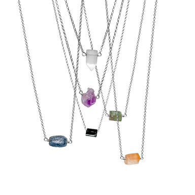 Raw Crystal Necklaces - silver chain - Blooming Lotus Jewelry