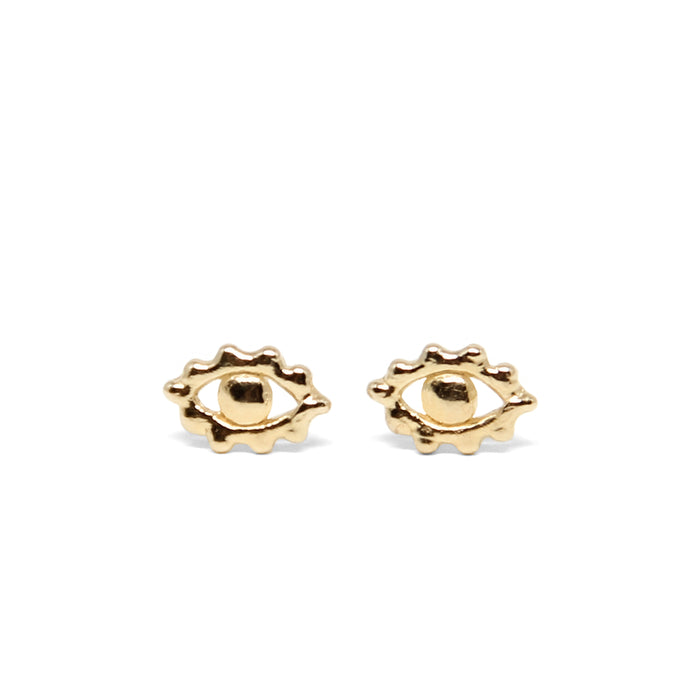 Eye of Protection Stud Earrings | Solid 14K Gold
