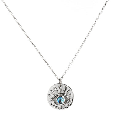 Blooming Lotus Jewelry Eye of Protection Sterling Silver with Blue Topaz front view