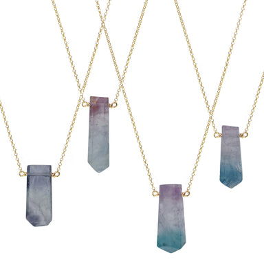Fluorite Point Necklaces - gold chain - Blooming Lotus Jewelry