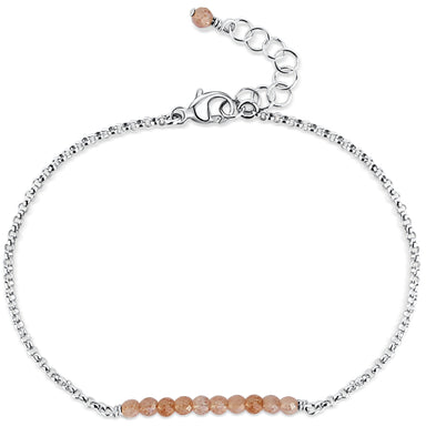 Balance Bar ~ Peach Moonstone (sterling) - Blooming Lotus Jewelry