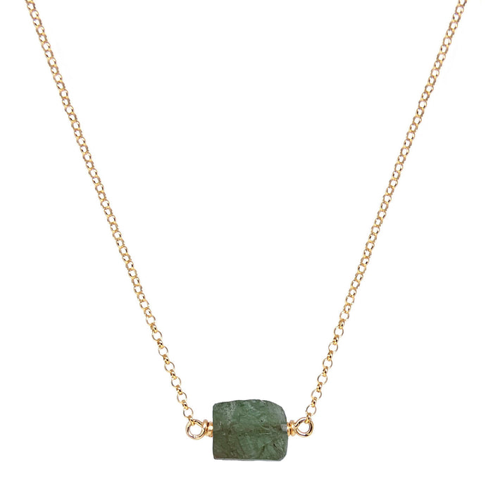 Green Garnet raw nugget necklace - gold chain - Blooming Lotus Jewelry