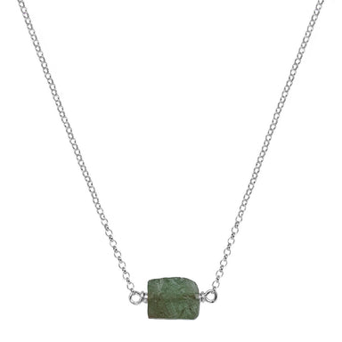 Raw Green Garnet Crystal Necklace - silver chain - Blooming Lotus Jewelry
