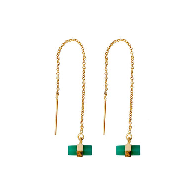 Green Onyx Threader Earrings | Gold