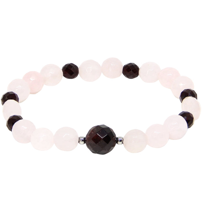 Heart and Soul Bracelet | Garnet, Rose Quartz