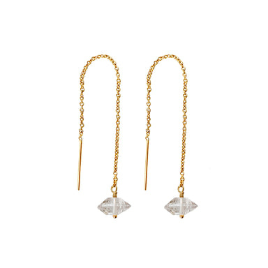 Herkimer Diamond Threader Earrings gold Blooming Lotus Jewelry