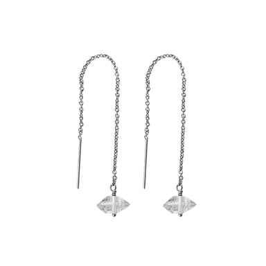 Herkimer Diamond Threaders earrings silver - Blooming Lotus Jewelry