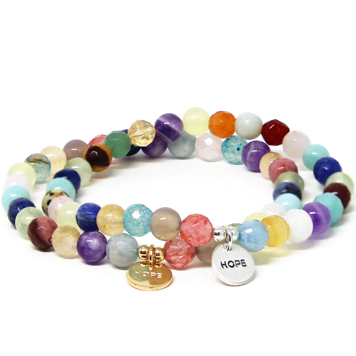 Hope Bracelet Mixed Gemstones silver gold