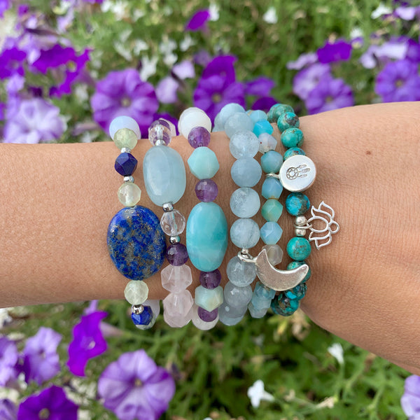 Gemstone Bracelets - Moon Phase Bracelet - Lotus bracelet - Blooming Lotus Jewelry