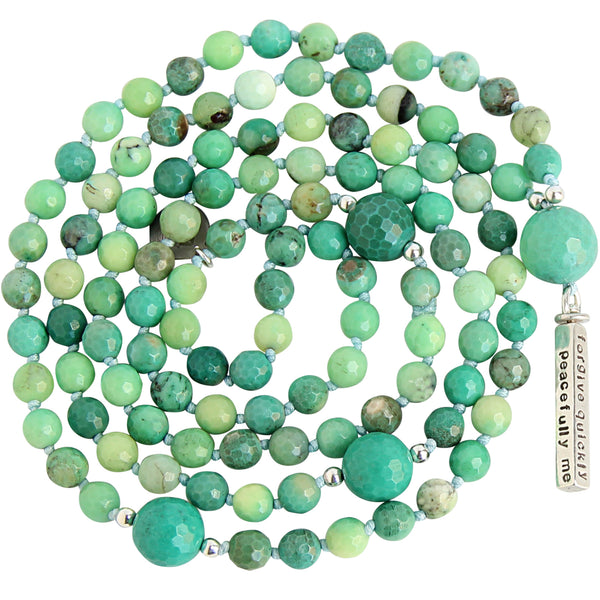 Chrysoprase Mantra Mala - Blooming Lotus Jewelry