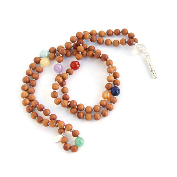 Chakra Mantra Mala (Sandalwood) - Blooming Lotus Jewelry
