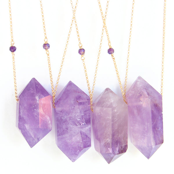 Double Terminated Amethyst Point (gold) - Blooming Lotus Jewelry