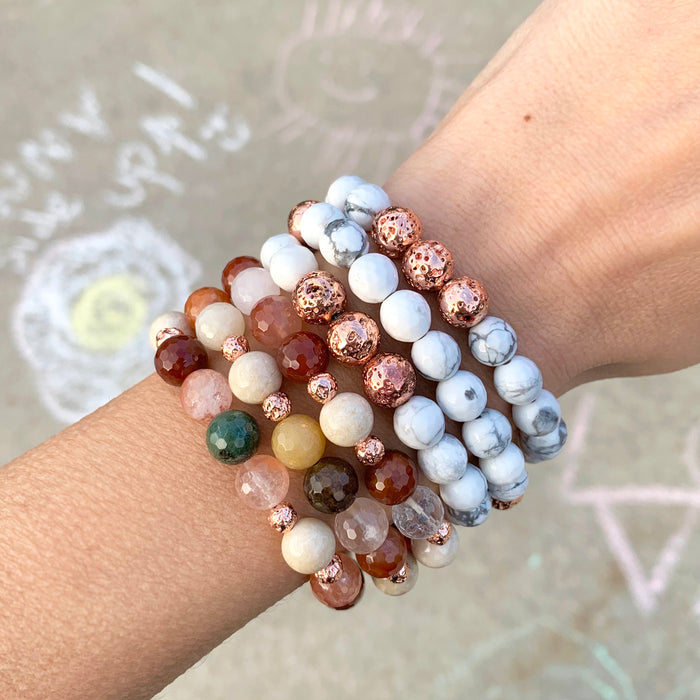 Stay Golden Bracelet | Howlite, Lava