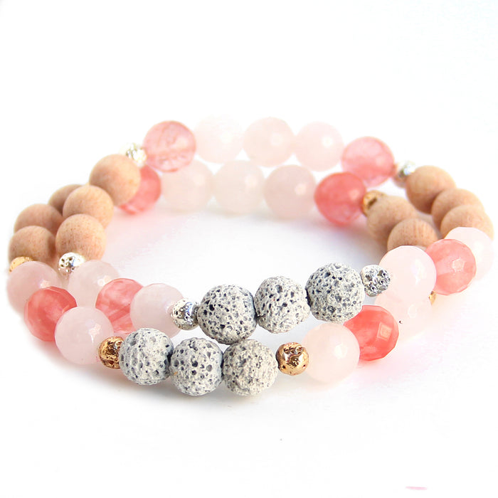 Inhale Love | Rose Quartz Diffuser Bracelet - Blooming Lotus Jewelry