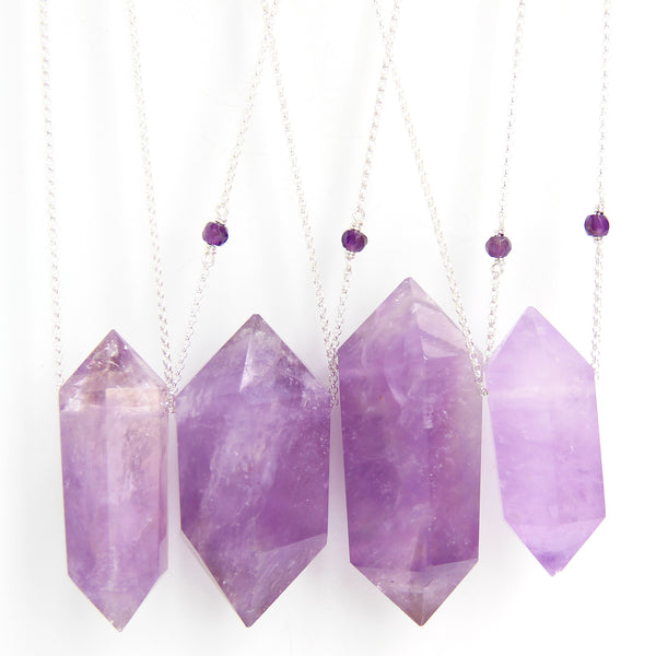 Double Terminated Amethyst Point (sterling) - Blooming Lotus Jewelry