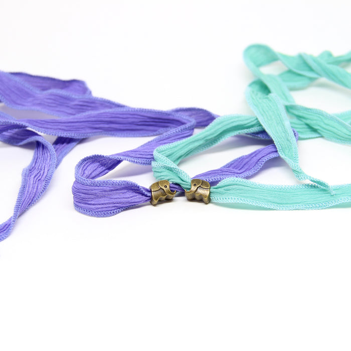 Lucky Elephant Silk Wrap | Aqua or Purple