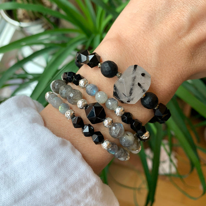 New Moon Stack | Labradorite, Black Agate, Moonstone