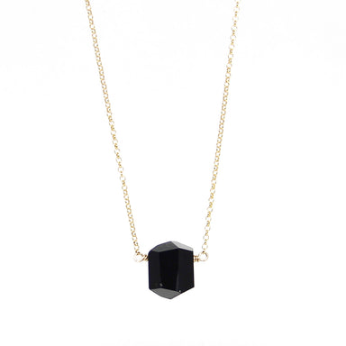 Black Tourmaline Nugget Necklace | Sterling or Gold