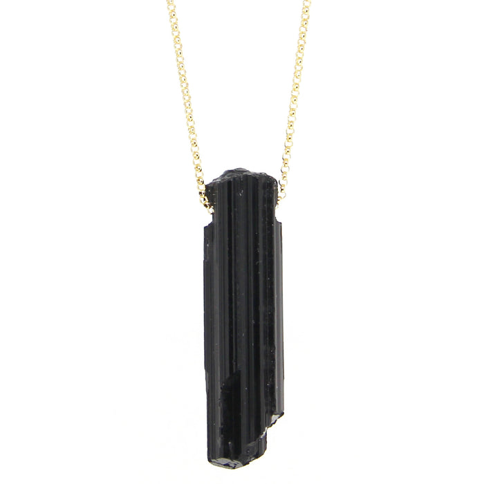 Black Tourmaline Necklace | Large | Sterling or Gold