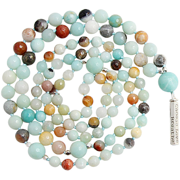 Amazonite Mantra Mala - Blooming Lotus Jewelry