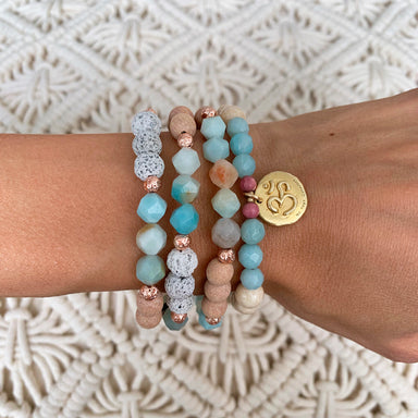 Diffused Bracelet - Gemstone Bracelet - Om Bracelet - Blooming Lotus Jewelry