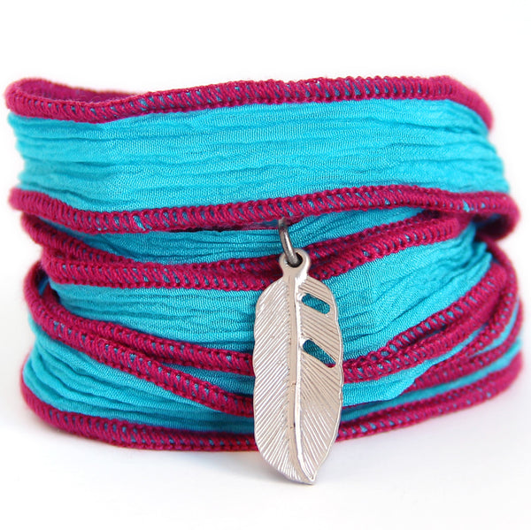 Feather Silk Wrap (turquoise/raspberry) - Blooming Lotus Jewelry
