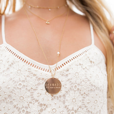 It's Just a Phase Necklace Moon Phases gold on model - Blooming Lotus Jewelry