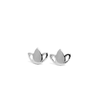 Tiny Lotus Stud Earrings silver - yoga jewelry - Blooming Lotus Jewelry