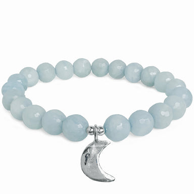 Luna Crescent Moon Bracelet - Aquamarine - Blooming Lotus Jewelry