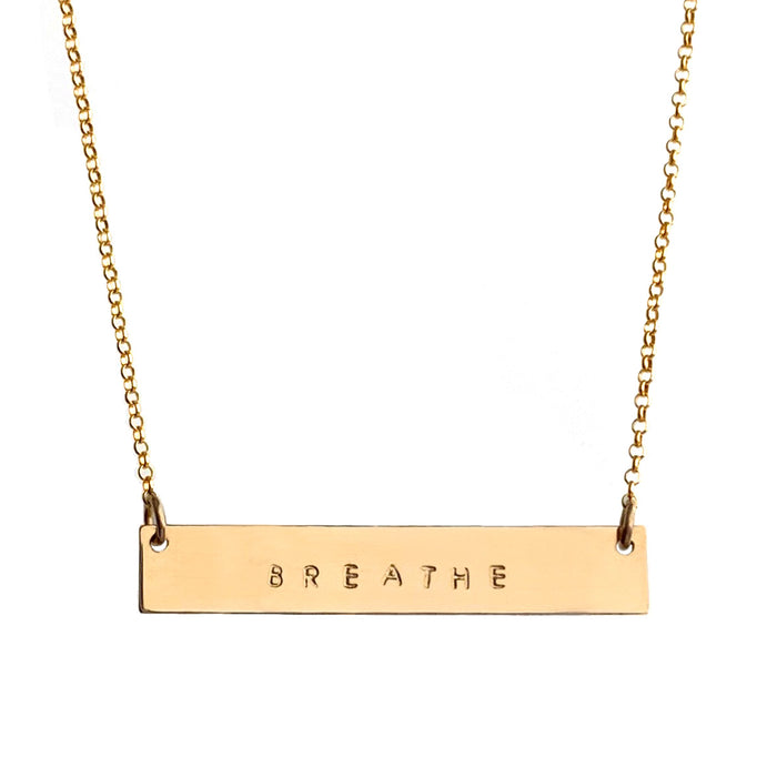 Mantra Bar Necklace gold personalized with Breathe tiny capital letters - Blooming Lotus Jewelry