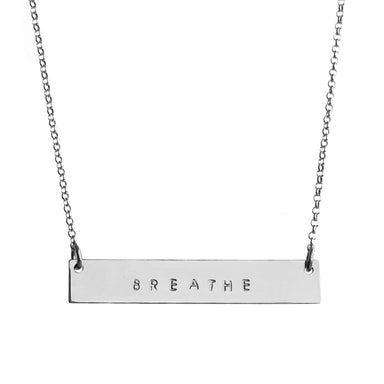 Mantra Bar Necklace silver personalized with Breathe tiny capital letters - Blooming Lotus Jewelry