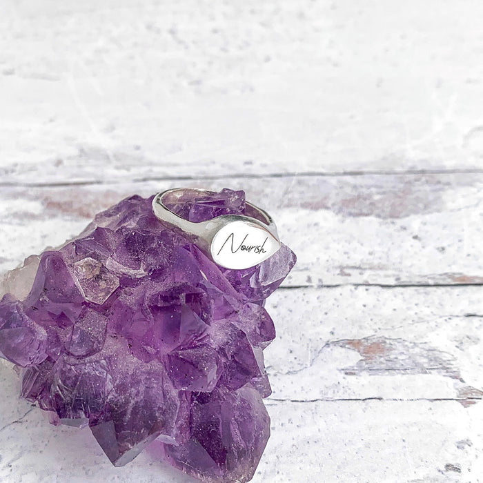 Mantra Signet Ring personalized engraved with Nourish on amethyst crystal Blooming Lotus Jewelry