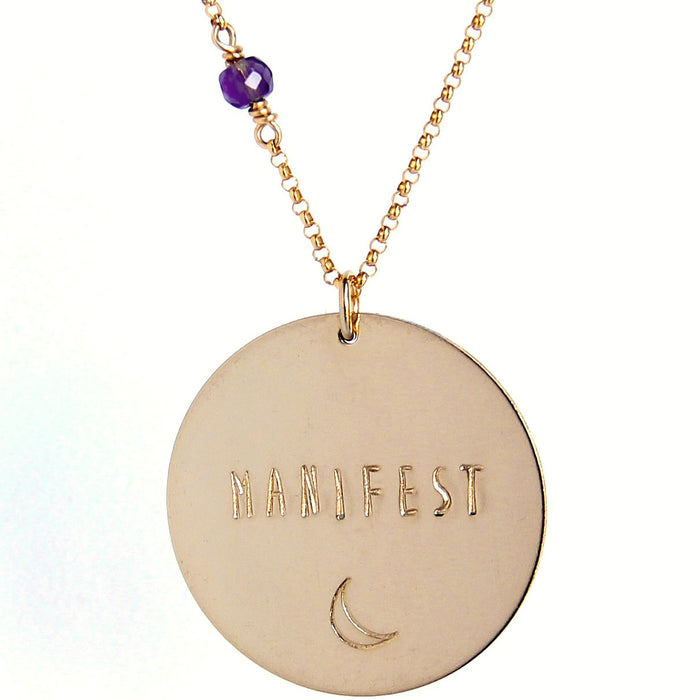Custom Mantra Coin Necklace | Skinny Capitals Font | Gold