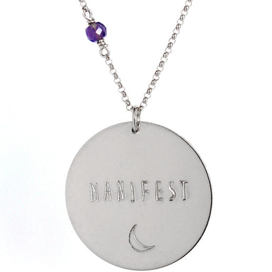 Custom Mantra Coin Necklace | Skinny Capitals Font | Sterling