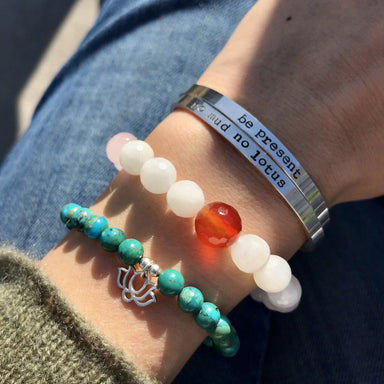 Meaningful Gemstone Bracelets Mantra Be Present No Mud No Lotus Blooming Lotus Jewelry
