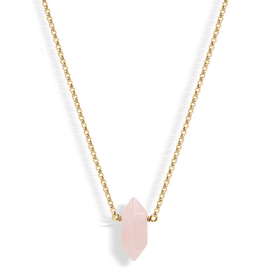 Mini Rose Quartz Point (gold) - Blooming Lotus Jewelry