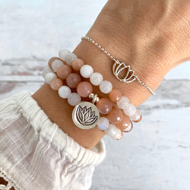 Lotus Bracelet _ Moonstone Bracelet _ Gemstone Bracelet _ Yoga Jewelry _ Blooming Lotus Jewelry