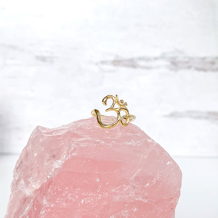 Om Ring gold yoga jewelry rose quartz crystal Blooming Lotus Jewelry