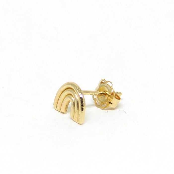 Rainbow Single Stud Earring gold side view Blooming Lotus Jewelry