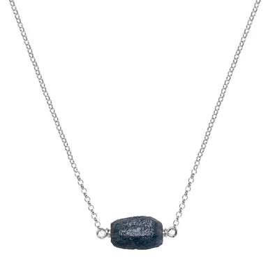 Raw Sapphire Crystal Necklace - silver - Blooming Lotus Jewelry
