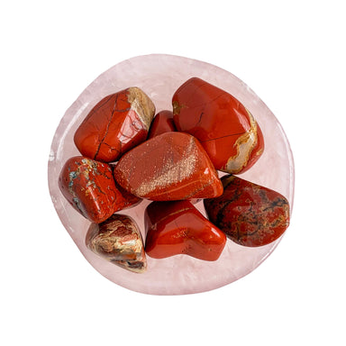 Red Jasper Tumbled Gemstone in Rose Quartz dish - Crystals - Blooming Lotus Jewelry