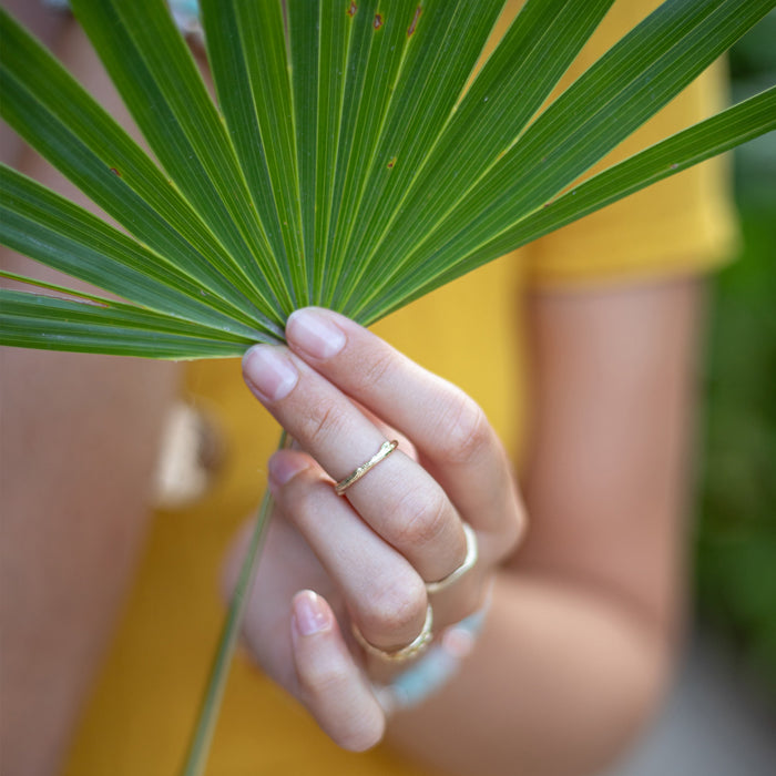 Skinny Olive Branch Ring gold stacking ring model Blooming Lotus Jewelry