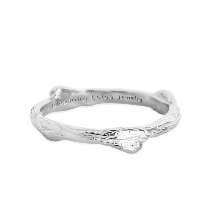 Skinny Olive Branch Twig Ring - silver - Blooming Lotus Jewelry