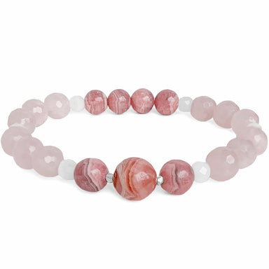 Soulmate Gemstone Bracelet - Rhodochrosite Rose Quartz - Blooming Lotus Jewelry