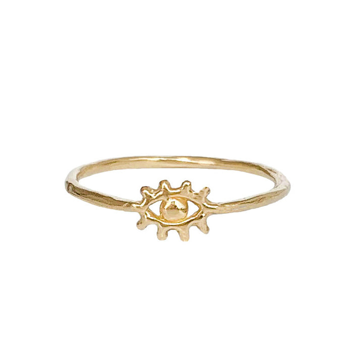 Tiny Gold Eye of Protection Ring - Blooming Lotus Jewelry